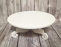 Деревянная подставка для торта 30 см (белая), фото 2