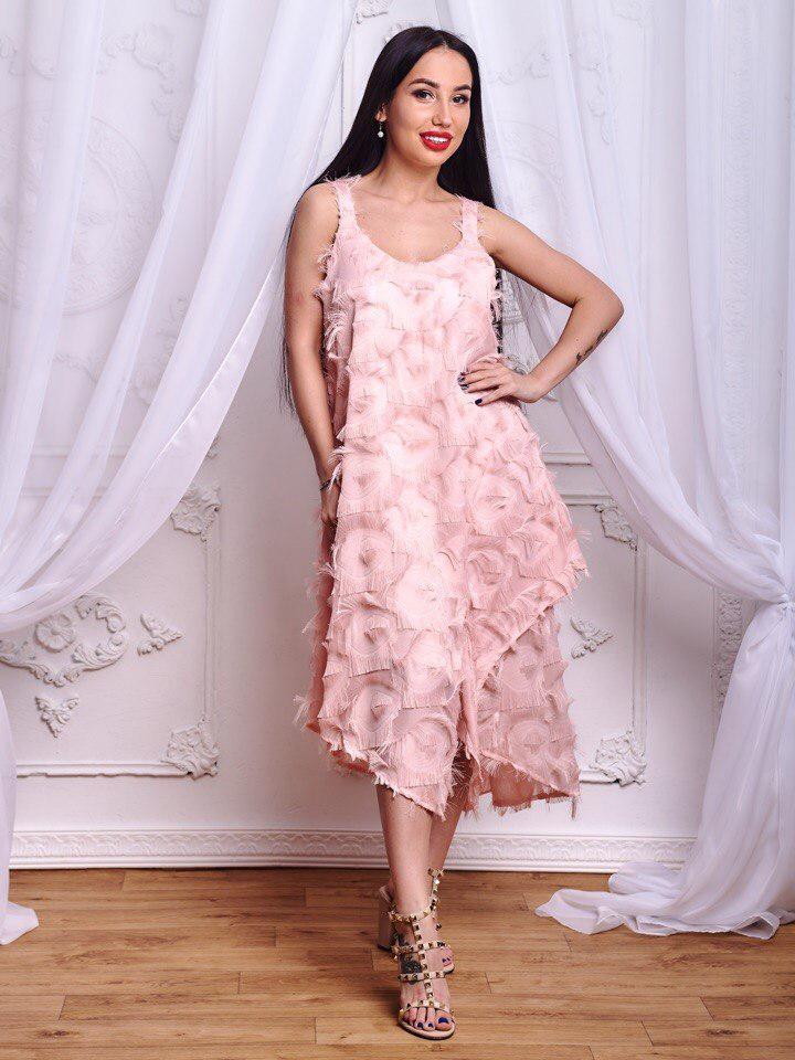 09ae14e99f57b2c Стильное женское платье из шифона с бахромой - Интернет-магазин