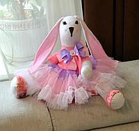 Зайчик девочка, интерьерная мягкая игрушка, 43 см