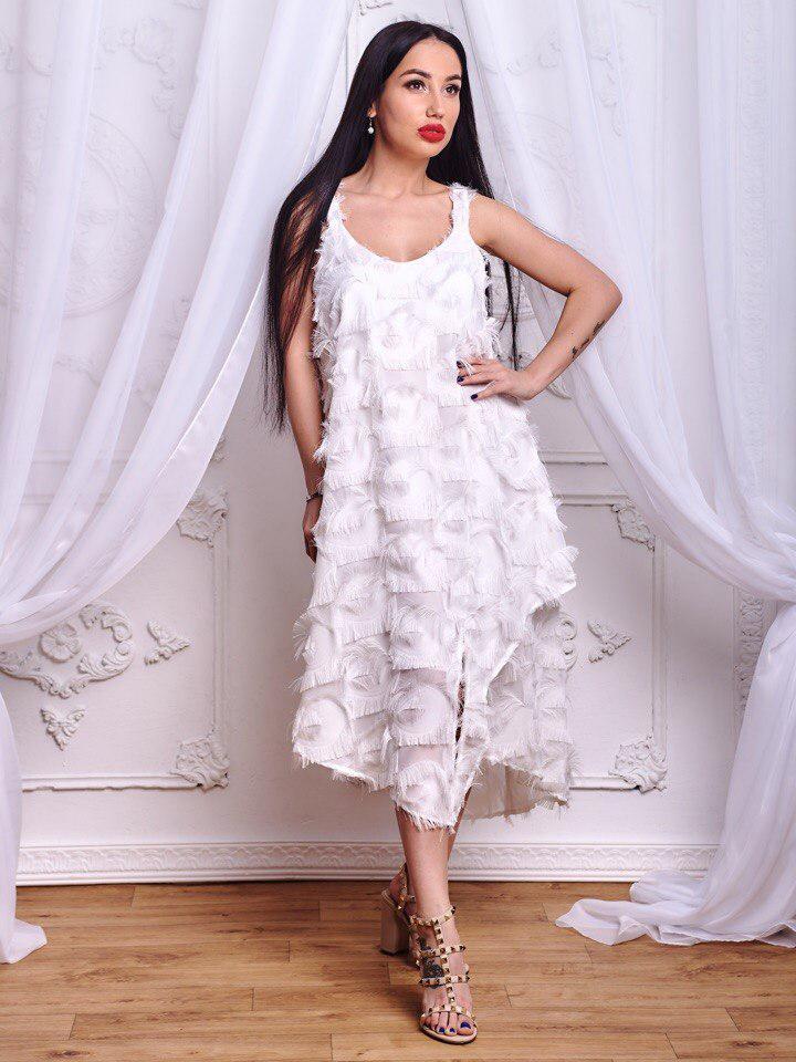 cc71effa4086f16 Очень красивое белое платье из шифона с бахромой - Интернет-магазин