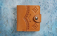Кожаный кошелек вестерн S, Оксворд, жёлтый., фото 1
