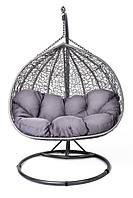 Кокон кресло ротанг Foggio brown/ крісло-кокон сіре, фото 1