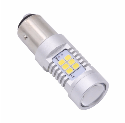 Автолампа светодиодная LED, P21/5W, BAY15d, 1157, 2 контактная, 21 SMD 3535, 12В, Белая