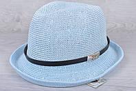 "Шляпа-челентанка ""Стиль"" Размер 56-58 см. Голубая. Оптом."