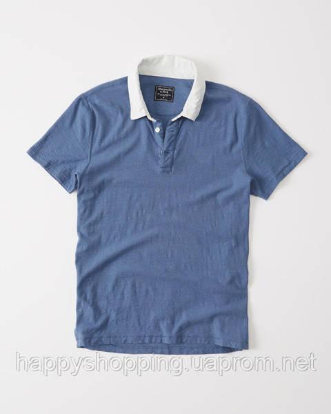 Синяя футболка-поло Abercrombie & Fitch, фото 1