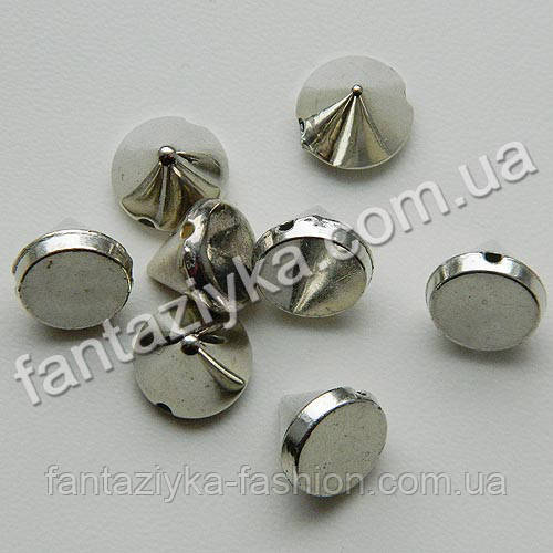 Шип пришивной акриловый серебряный 10мм