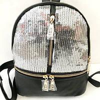 Рюкзаки с паетками и стразами (черный-серебро 2хсторонний)21*26, фото 1