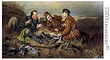 Заготовка на ткани для вышивки Охотники на привале