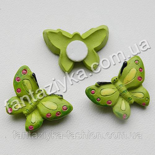 Декор на липучке, Бабочка керамическая салатовая 25мм