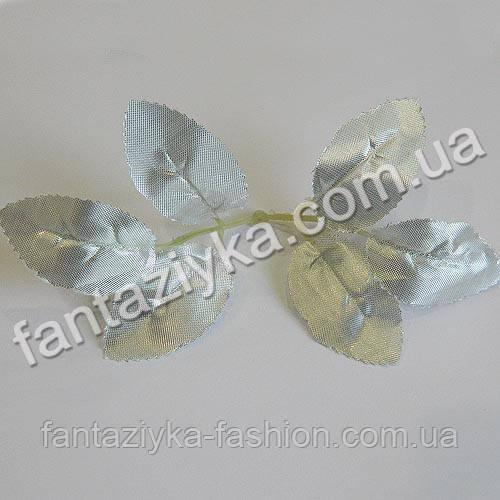 Лист розы искусственный, парча серебро