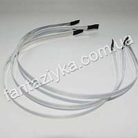 Металлический обруч для волос с белой репсовой лентой 6мм