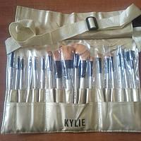Kylie профессиональный набор кистей для макияжа 24 шт в кожаном чехле с застежкой на поясе