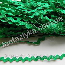Тесьма декоративная Зиг-Заг, Вьюнок 5мм, зеленая