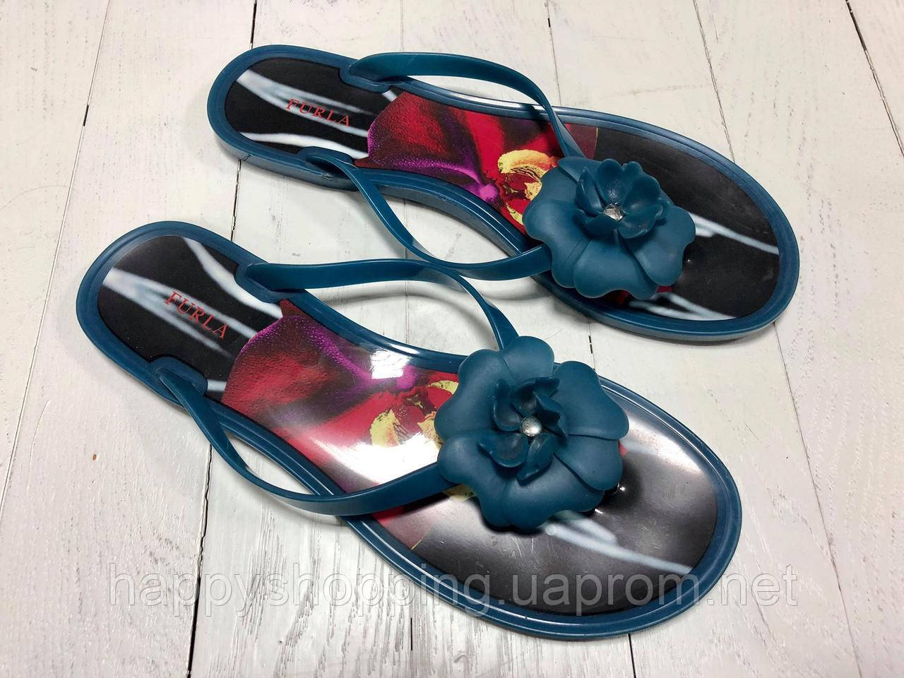 Женские синие силиконовые вьетнамки Furla