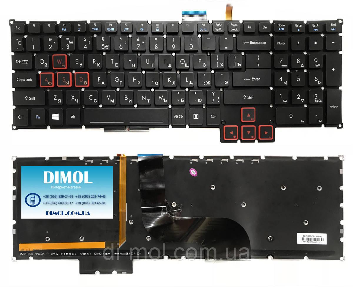 Оригінальна клавіатура для ноутбука Acer Predator 17-G9000 series, ru, black, RGB-підсвічування