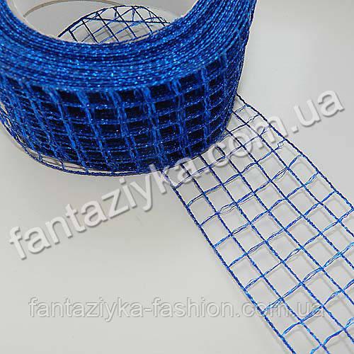 Лента сетка 5см блестящая для декора, синяя