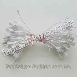 Тычинки для цветов с блестками белые, 50 штук