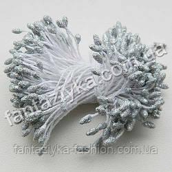Тычинки для цветов с блестками серебряные, 50 штук