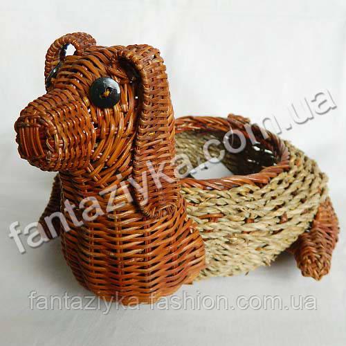 Кашпо плетеное из натуральной лозы, Щенок 19см