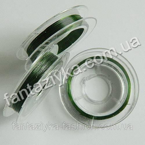Проволока для бисера зеленая 0,3мм, моток 10м
