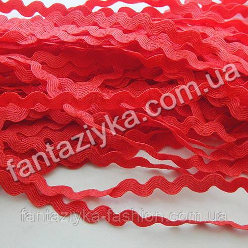 Тесьма декоративная Зиг-Заг, Вьюнок 5мм, красная