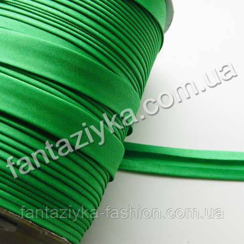 Атласная косая бейка  зеленая