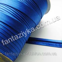 Атласная косая бейка  синяя