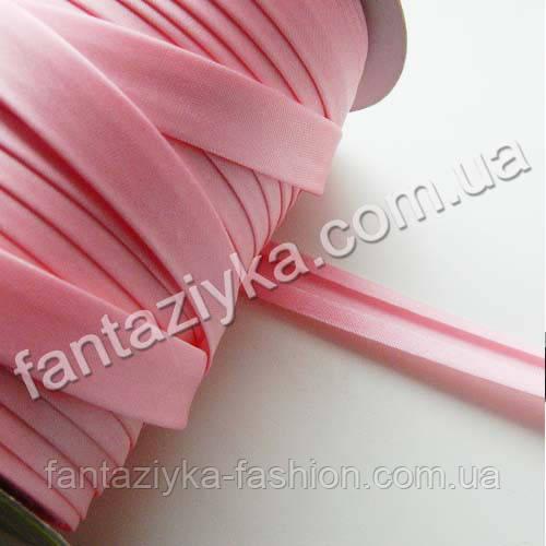 Атласная косая бейка розового цвета