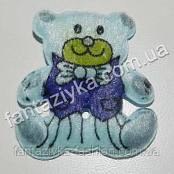 Нашивка на одежду Медведь синий 40мм