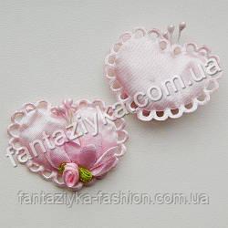 Сердце атласное с декором розовое 45мм