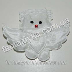 Ангелочек из атласа белый, нашивка декоративная