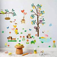 """Наклейка на стену, в детский сад, украшения стены наклейки """"животные и птицы"""" лист 50*70см"""