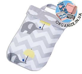 Кармашек для памперсов и влажных салфеток в детскую сумку(слоник)