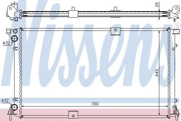Радиатор охлаждения Renault Trafic, Opel Vivaro 2.5, 2003-2006, Nissens 63818A