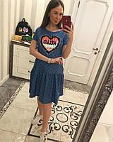 Женское стильное джинсовое платье-трапеция с рюшами и отделка из пайетки (2 цвета)