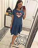 Женское стильное джинсовое платье-трапеция с рюшами и отделка из пайетки (2 цвета), фото 5