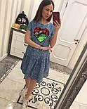 Женское стильное джинсовое платье-трапеция с рюшами и отделка из пайетки (2 цвета), фото 6