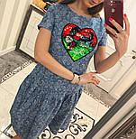 Женское стильное джинсовое платье-трапеция с рюшами и отделка из пайетки (2 цвета), фото 8