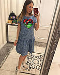 Женское стильное джинсовое платье-трапеция с рюшами и отделка из пайетки (2 цвета), фото 10