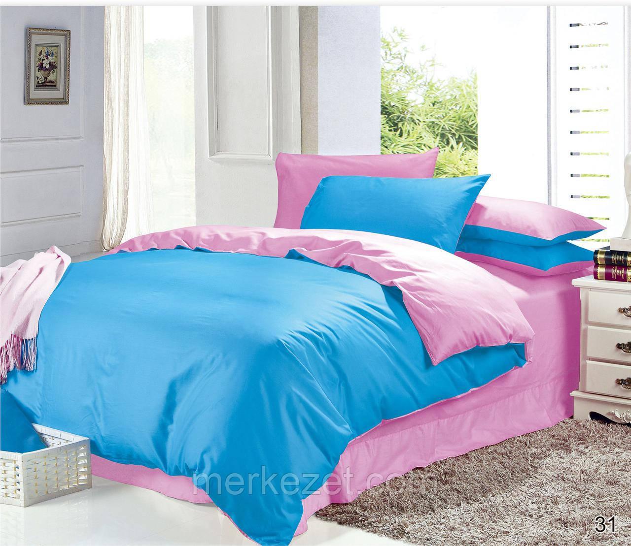 """Двухцветное постельное белье """"Пинки Блу"""" на двухспальную кровать"""