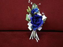 Свадебная бутоньерка жениха синяя