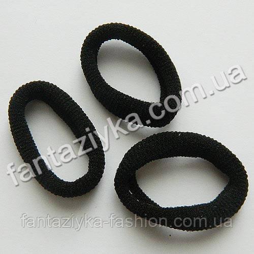 Махровая резинка для волос средняя 3,5см, черная