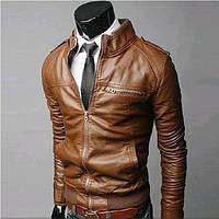 Стильная мужская кожанная куртка Light Brown Johnson Piers (M. Иск. кожа. Весна\Осень)