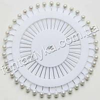 Булавки декоративные на диске, круглые белые