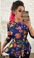 Красивая женская приталенная баска с рукавом три четверти