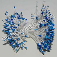 Тычинки для цветов Капелька бело-синие, 50 штук