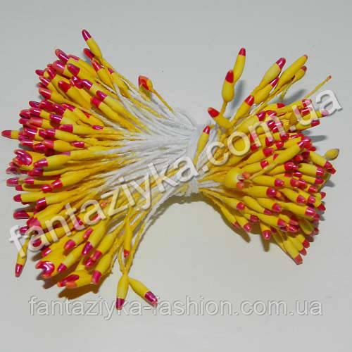 Тычинки для цветов Капелька желто-малиновые, 50 штук