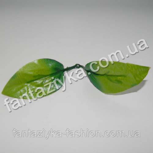 Искусственный лист розы двойной