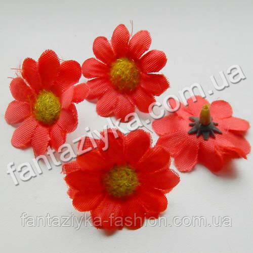 Искусственная головка цветка цинерарии 3,5см, красная