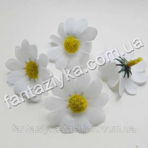 Искусственная головка цветка цинерарии 3,5см, белая
